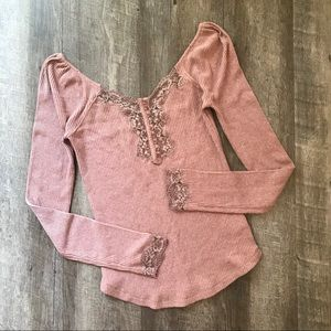 Free People Mauve To The West Lace Top Size Large